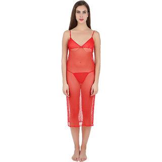 Women Nightwear Red Stylish Triangle Cup V Neck Sleeveless Gown Dress by  FIHA f5130330c