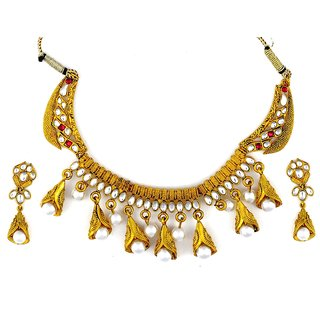 Amarsonns Jewels Gold And Pearls Necklace Set