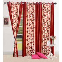 Homesazawat Border Leaf Design Rust Color Curtain-4x7ft- Set Of 3