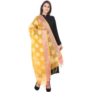 Devam Women's Yellow and Gold Silk Banarsi Woven Handloom Dupatta