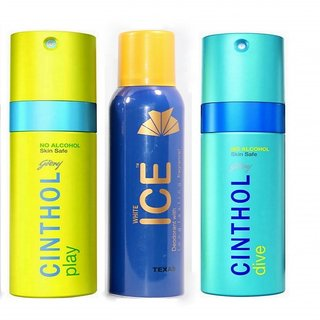 2 Cinthol Deo + 1 ICE Deo 150 ML each For Men (Set of 3)