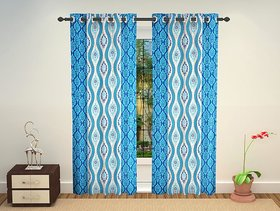 Gujjars Enterprises Polyester Blue Window Curtain (152 cm Hight in Pack Of 2)