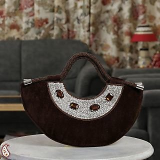 Aapno Rajasthan Bole Brown Velvet & Stone Crescent Moon Bag  (HB1305)