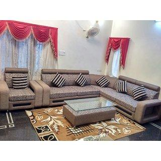 Stylish Coner Light Brown Sofa