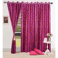 Homesazawat Flower Design  Dark Pink Eyelet Door Curtain-4x7ft - Set Of 3