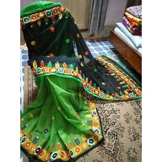Women Designer and partywear Green and Black color Kathiwari sarees for women