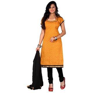 Silkbazar Yellow Chandani vol 2 Embroidered Chanderi Cotton Suit(SB-1664) (Unstitched)