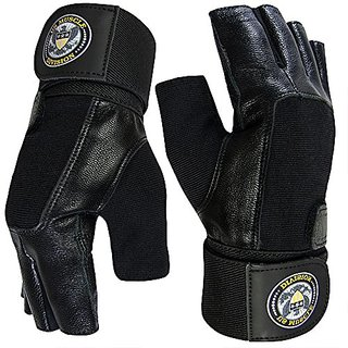 Weight Lifting Gloves - Soft Leather Gym Gloves With Wrist Support + Double Stitched Fingers And Palm - Breatheable Mesh Lycra On Back + Easy Open Finger Tab Size Adjuster