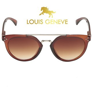 Louis Geneve Stylish  Fashionable Girls Sunglass With Silver Brown Frame  Brown Lens