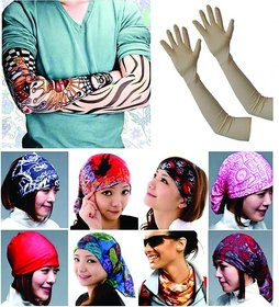 Combo for Summer (1 Pair Tattoo Sleeve + 1 Pc. Multicolor Bacalava + 1 Cotton Full Arm Glove Assorted)