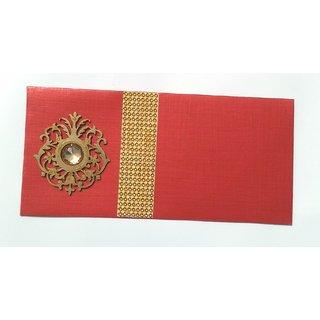 Parvenu Shagun Crown Money Envelopes in Red Color.Pack of 20 Pieces