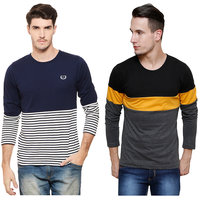 Rigo Pack of 2 Men's Multicolor Round Neck T-Shirt