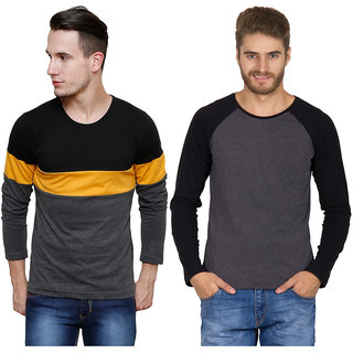 Rigo Men's Multicolor Round Neck T-Shirt (Pack of 2)