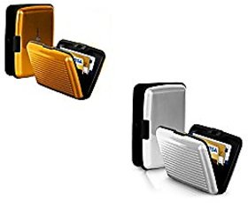 Set of 2 PURSHO Business Aluminum ID Credit Card ATM Debit Card Holder Aluminium Security Wallet RFID Protection