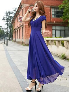 Rosella Royal Blue Long Monika Georgette Dress with Cape Sleeve