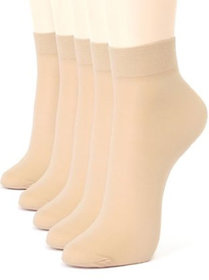 Skin Color Transparent 5 Pair Skin Ankle Socks