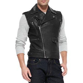 Real Biker Jacket Sleeveless Blazer For Men in Black Color All Size AlSamad Jacket