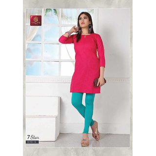 7 Star Round Neck Formal Pin Tucks Kurti  Red  Cotton By Valas.