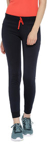 Red Rose Women's Solid Navy Blue Yoga Track & Lounge Pants