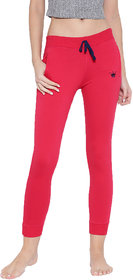 Red Rose Women's Solid Pink Yoga Track & Lounge Pants