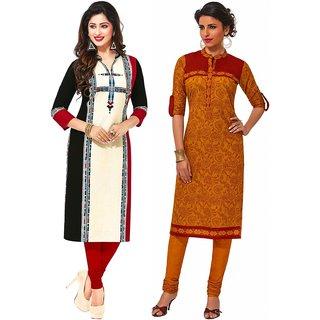 Jevi Prints - Set of 2 Unstitched Khadi Flex Printed Kurti Fabrics (Fabrics Only for Top)