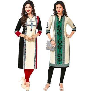 Jevi Prints - Pack of 2 Unstitched Khadi Flex Printed Kurti Fabrics (Fabrics Only for Top)