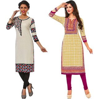 Jevi Prints - Pack of 2 Unstitched Khadi Flex Printed Kurti Fabrics (Fabrics Only for Top)