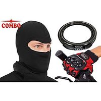 (Black) Pro-Biker Gloves & Balaclava Mask With Multi-Purpose Cable Number Lock