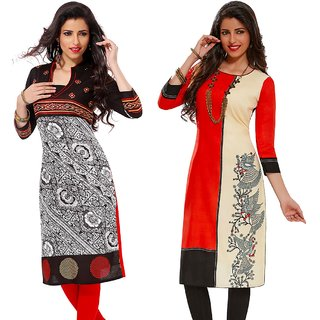 Jevi Prints - Set of 2 Unstitched Rayon Printed Kurti Fabrics (Fabrics Only for Top)