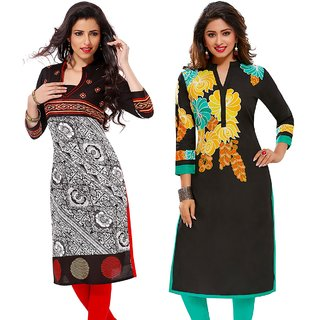 Jevi Prints - Pack of 2 Unstitched Rayon Printed Kurti Fabrics (Fabrics Only for Top)