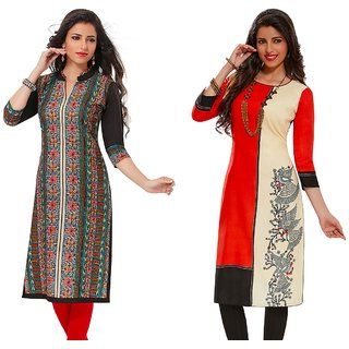 Jevi Prints - Combo of 2 Unstitched Rayon Printed Kurti Fabrics (Fabrics Only for Top)