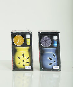 AuraDecor Ceramic Aroma Oil Burner with Tealight  5ml Aroma Oil Gift Pack (Yellow, Blue - Pack of 2)