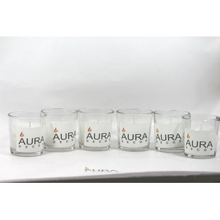 AuraDecor Multipurpose Votive Glass Candles Set of 6 (More than 12 Hour Burning, Wax Content 60 Grams Each)