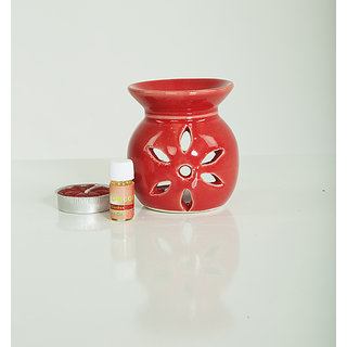 AuraDecor Ceramic Aroma Oil Burner with Tealight  5ml Aroma Oil Gift Pack (Red)