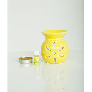 AuraDecor Ceramic Aroma Oil Burner with Tealight  5ml Aroma Oil Gift Pack (Yellow)