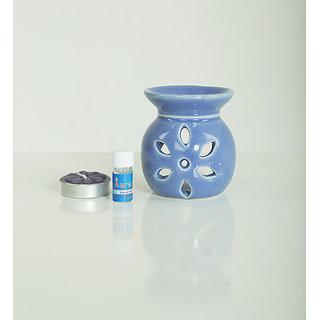 AuraDecor Ceramic Aroma Oil Burner with Tealight  5ml Aroma Oil Gift Pack (Blue)
