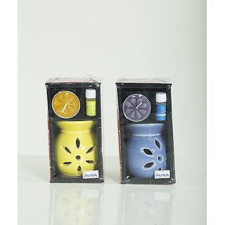 AuraDecor Ceramic Aroma Oil Burner with Tealight  5ml Aroma Oil Gift Pack (Yellow, Blue - Pack of 2)