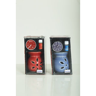 AuraDecor Ceramic Aroma Oil Burner with Tealight  5ml Aroma Oil Gift Pack (Red, Blue - Pack of 2)