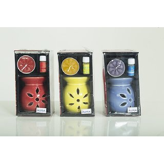 AuraDecor Ceramic Aroma Oil Burner with Tealight  5ml Aroma Oil Gift Pack (Yellow, Red, Blue - Pack of 3)