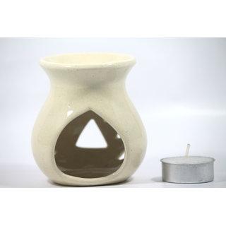 AuraDecor Cream Ceramic Oil Burner  With Tea light