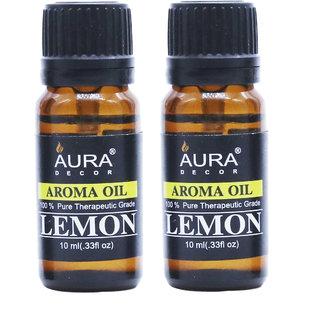 AuraDecor Lemon Aromatherapy Oil, 10ml (Buy 1 Get 1 Free)