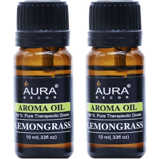AuraDecor LemonGrass Aromatherapy Oil, 10ml (Buy 1 Get 1 Free)