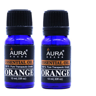 AuraDecor Orange Essential Oil, 10ml (Buy 1 Get 1 Free)