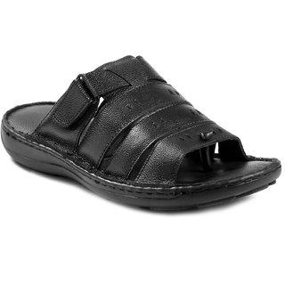 Votalento Black Genuine Leather Sandals V 101