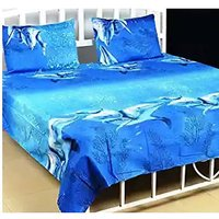 Textile Home poly cotton blue 3d  double bedsheet with free 2 pillow covers