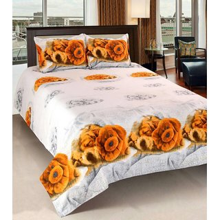 Textile Home poly cotton 3d double bedsheet with free 2 pillow covers