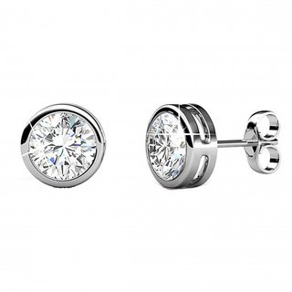 Shiyara Jewells 92.5 Sterling Silver Round Solitaire Earrings for women ER07008