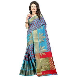 Ajira Blue Polycotton Self Design Saree With Blouse