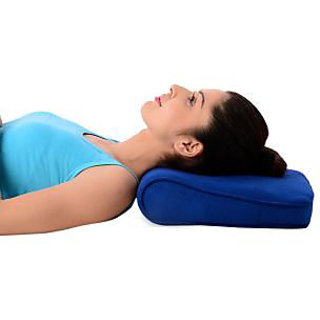 Kudize Cervical Pillow spondylosis Neck and Back Pain Support Stress Universal Men Women Deluxe Blue
