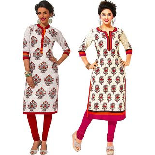 Jevi Prints - Set of 2 Unstitched Khadi Flex Printed Kurti Fabrics (Fabrics Only for Top)